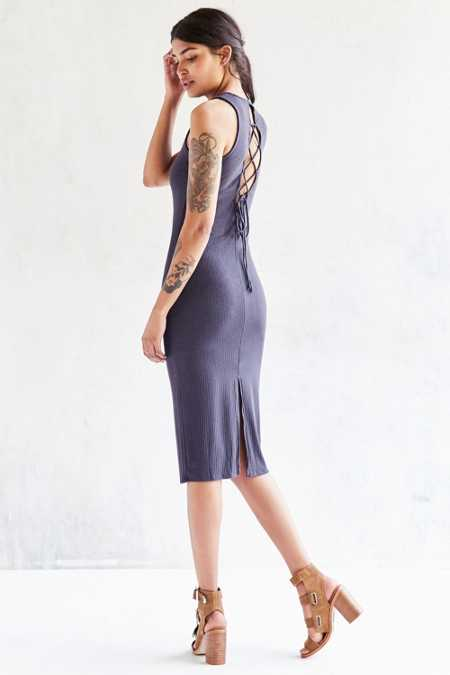 Silence + Noise Lace-Up Back Ribbed Midi Dress