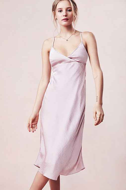 Silence + Noise Alicia Satin Midi Slip Dress,PINK,M