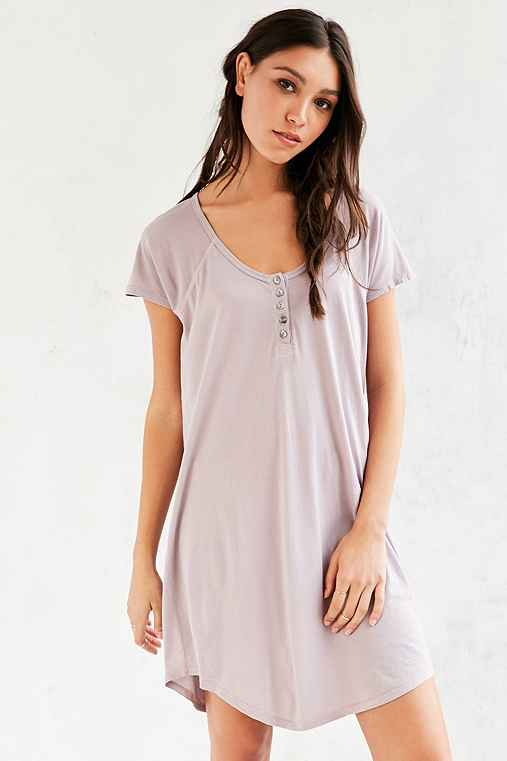 Truly Madly Deeply Henley T-Shirt Dress,TAUPE,S
