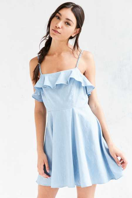 Cooperative Chambray Ruffle Fit + Flare Mini Dress