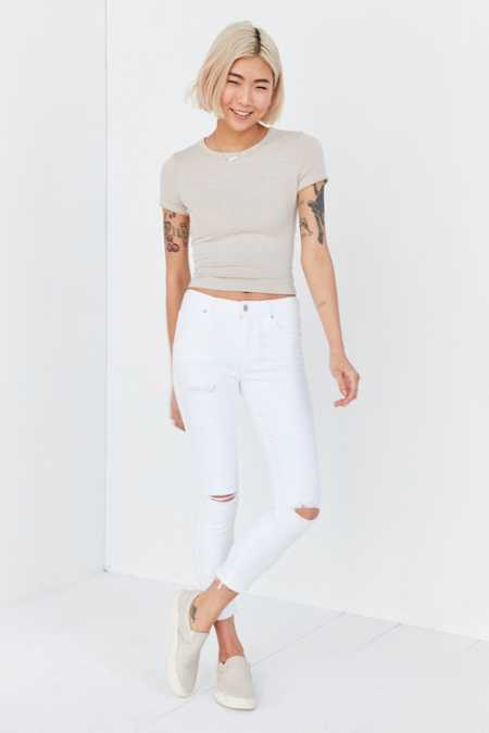 AGOLDE Sophie Crop High-Rise Distressed Skinny Jean - White