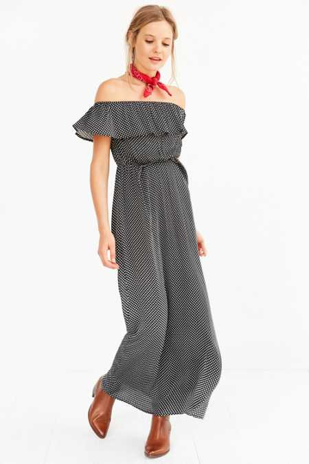 Cooperative Polka Dot Off-The-Shoulder Maxi Dress