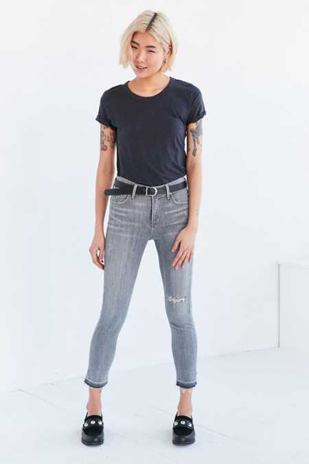 AGOLDE Sophie Crop High-Rise Distressed Skinny Jean - Grey