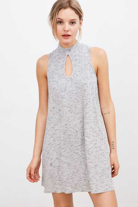 Cooperative Mock-Neck Keyhole Swing Dress