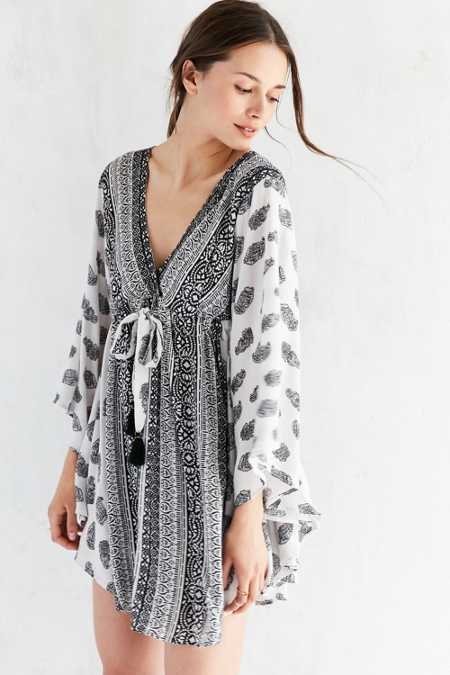 Ecote Mixed Print Caftan Mini Dress