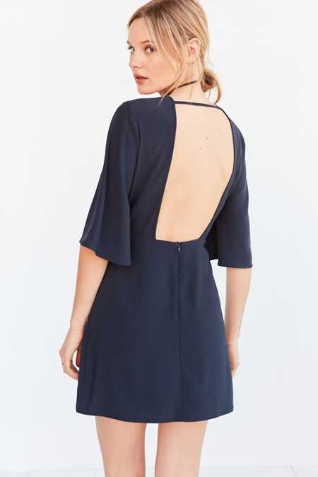 Silence + Noise Open-Back Bell-Sleeve Mini Dress