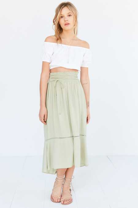 Kimchi Blue Meadow Lace-Up Midi Skirt