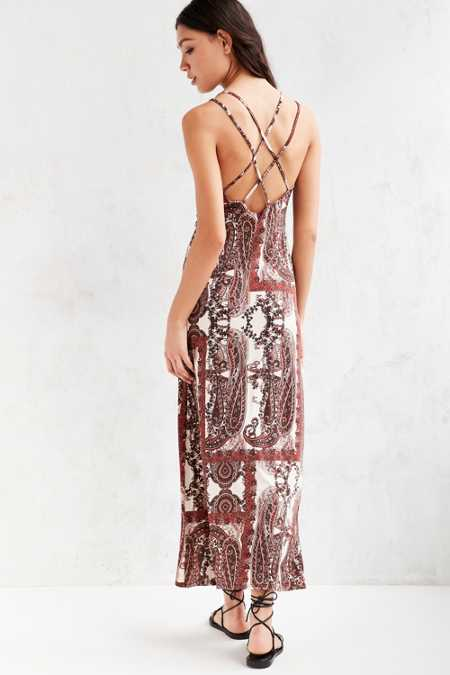 Ecote Paisley Print Column Knit Maxi Dress