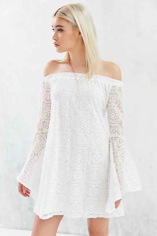 Kimchi Blue Lace Off-The-Shoulder Bell-Sleeve Frock Dress,WHITE,S
