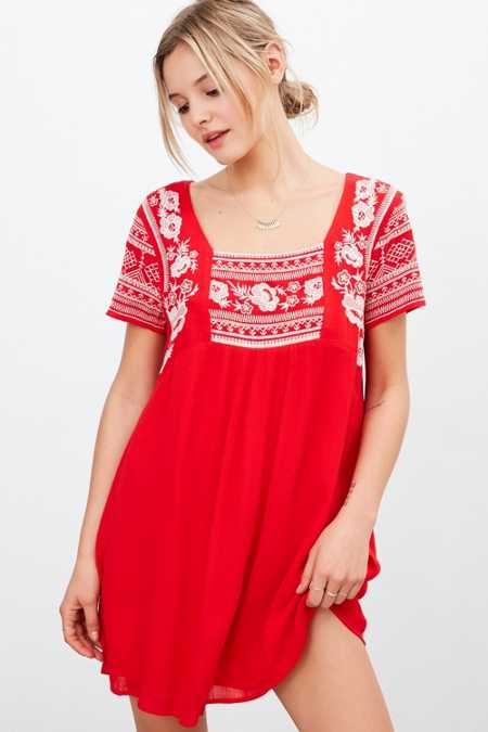 Ecote Embroidered Gauze Frock Dress