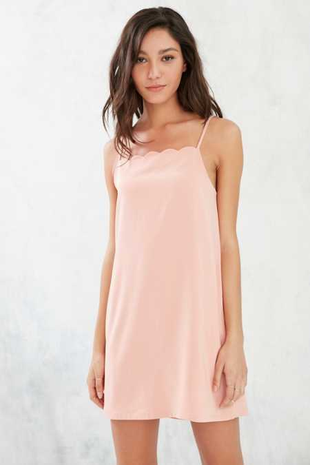 Silence + Noise Scalloped Neckline A-Line Mini Dress