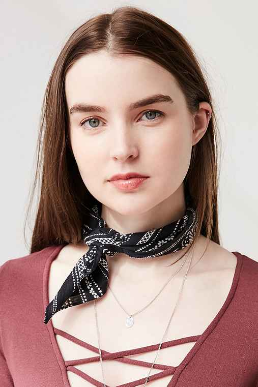 Cotton Patterned Square Neck Scarf,BLACK MULTI,ONE SIZE