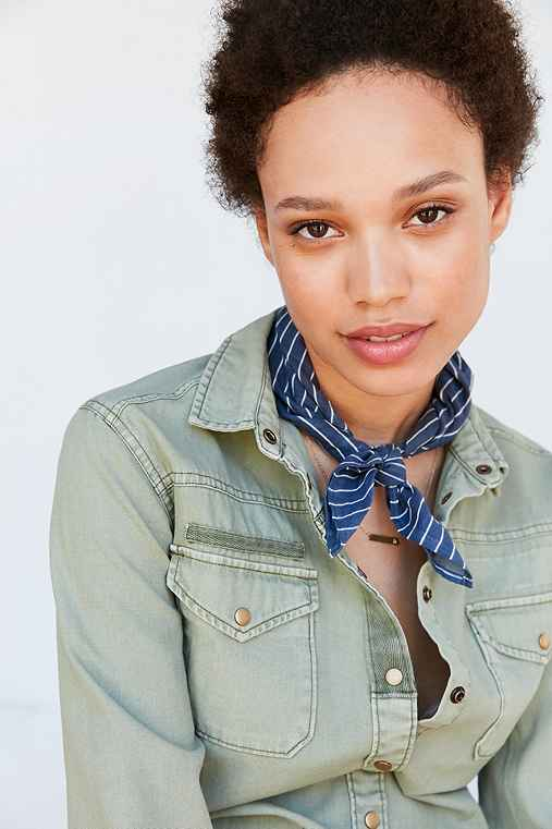 Cotton Patterned Square Neck Scarf,BLUE,ONE SIZE