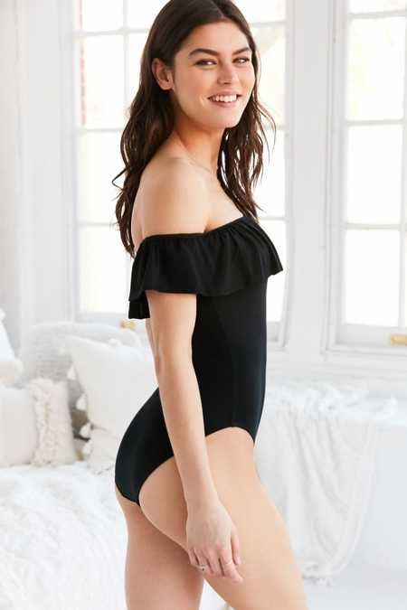 Out From Under Off-The-Shoulder Ruffle Bodysuit