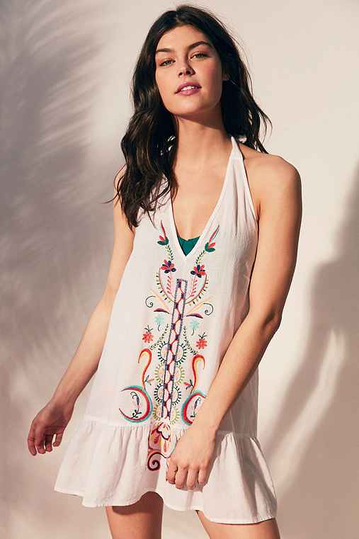 Out From Under Embroidered Cover-Up,IVORY,XS