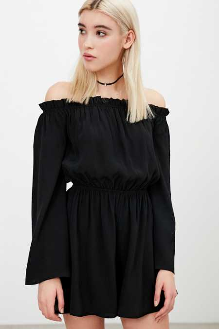 Ecote Off-The-Shoulder Bell-Sleeve Romper