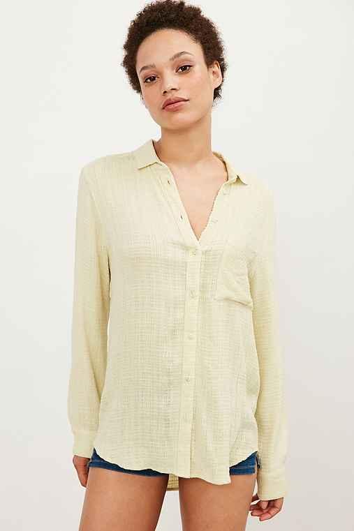BDG Harry Button-Down Shirt,GREEN,XS