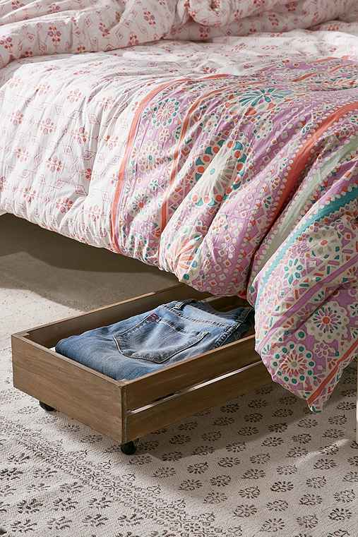 Under-The-Bed Rolling Wood Storage Box,NEUTRAL,ONE SIZE