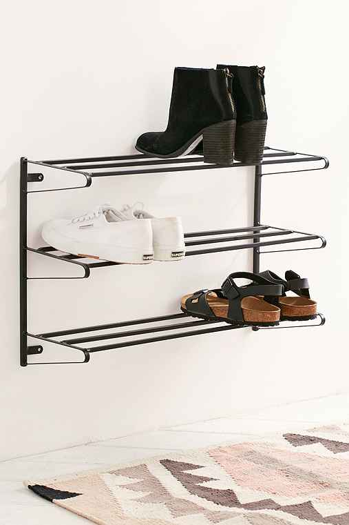 Wall-Mounted Shoe Rack,BLACK,ONE SIZE