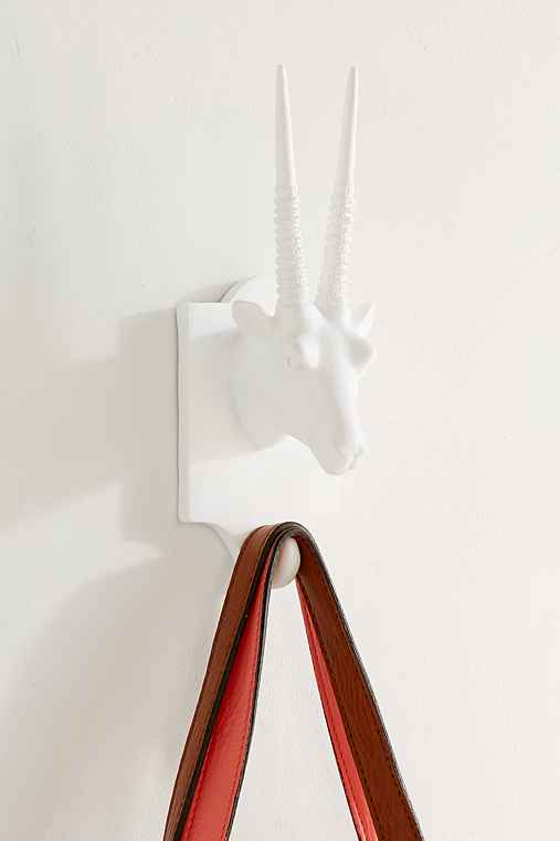 Large Matte Goat Wall Hook,WHITE,ONE SIZE