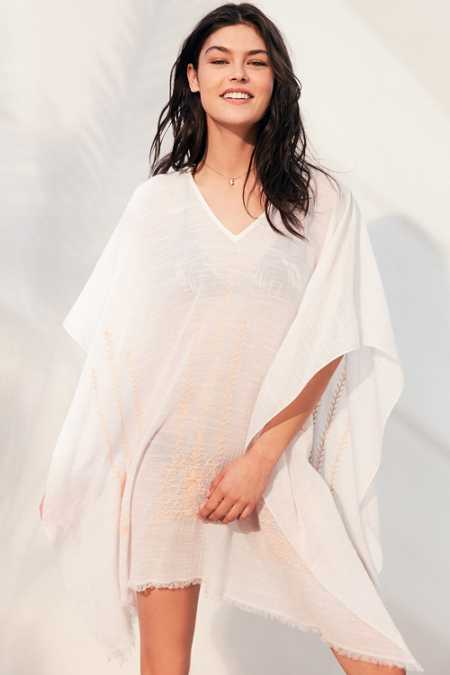 Ecote Embroidered Beach Poncho