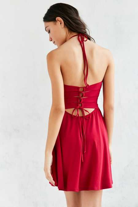 Silence + Noise Crepe Lace-Up Back Halter Dress