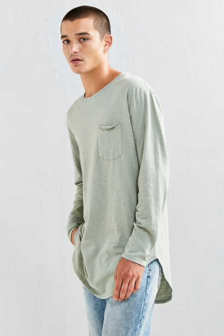 Feathers Nubby Linen Curved Hem Long Sleeve Tee