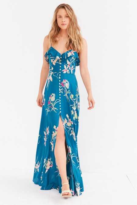 Kimchi Blue La Playa Button-Down Maxi Dress