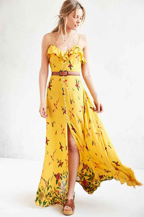 Kimchi Blue La Playa Button-Down Maxi Dress,YELLOW,0