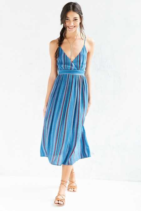 Ecote Multi-Stripe Surplice Midi Dress