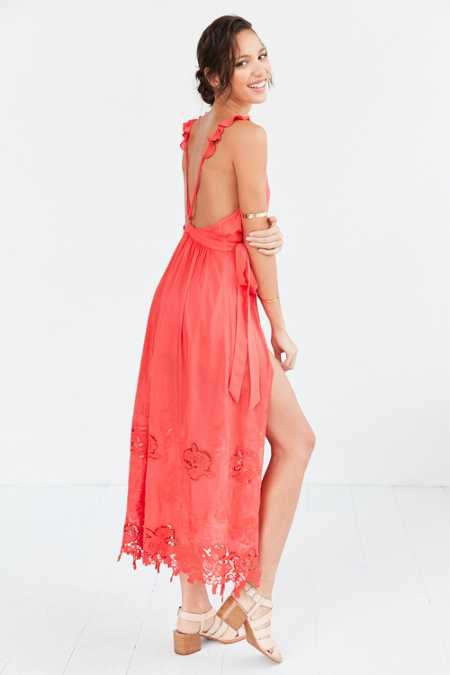 The Jetset Diaries Island Coral Surplice Maxi Dress