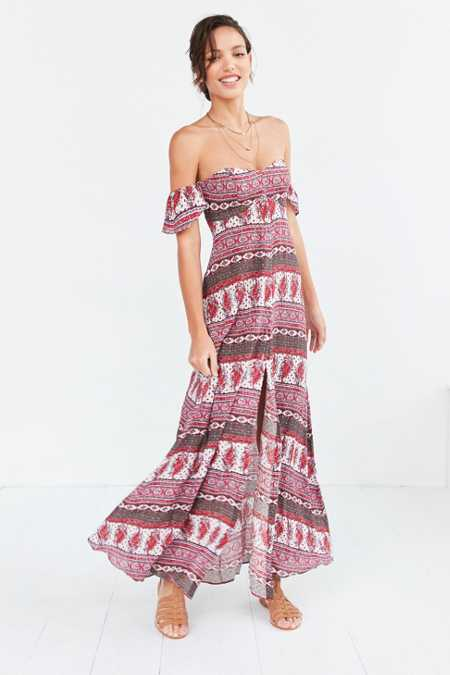 The Jetset Diaries Tropical Paradise Off-The-Shoulder Maxi Dress