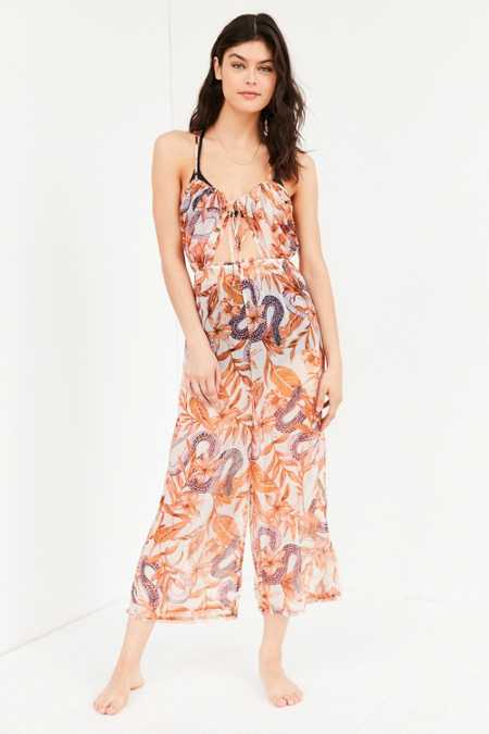 Out From Under Keyhole Tie-Up Jumpsuit