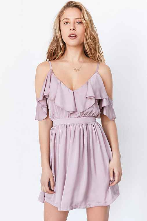 Oh My Love Grecian Frill Cold-Shoulder Mini Dress,LAVENDER,L