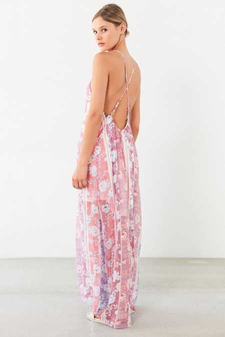 Ecote Floral Print High-Neck Maxi Dress