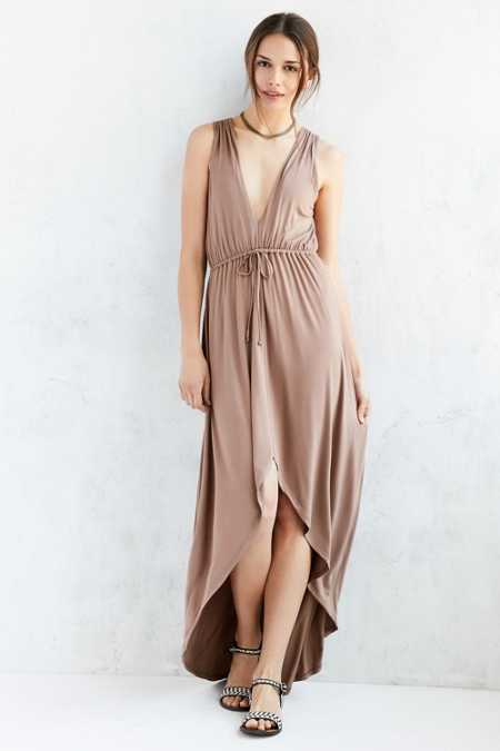 Kimchi Blue Plunging High/Low Maxi Dress