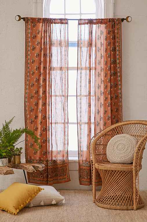 Aveline Floral Curtain,GOLD,52X84