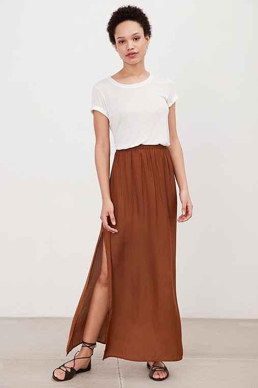 Silence + Noise Side-Slit Woven Maxi Skirt,BRONZE,L