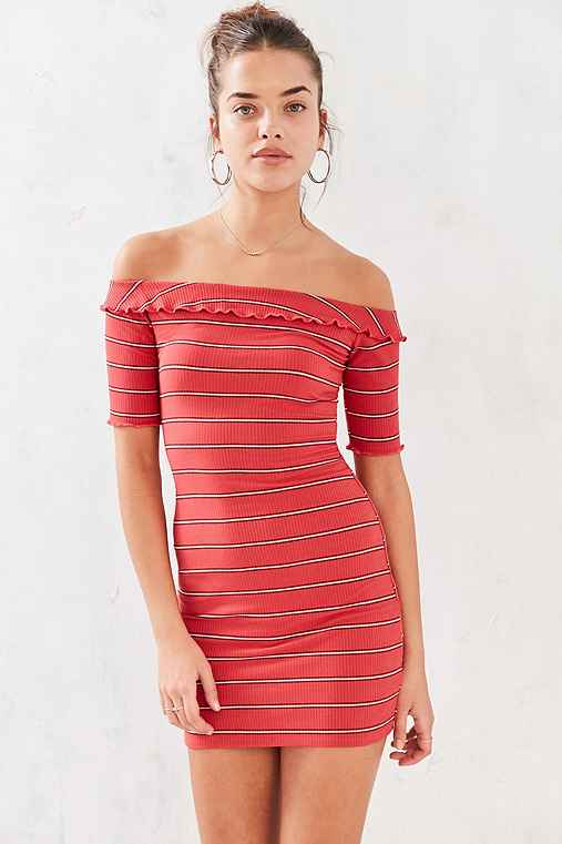 BDG Lettuce Edge Off-The-Shoulder Dress,RED MULTI,XS
