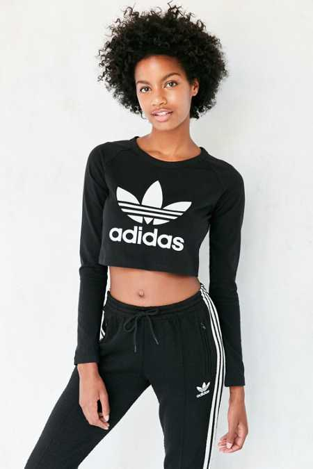 adidas Originals Long-Sleeve Cropped Trefoil Tee