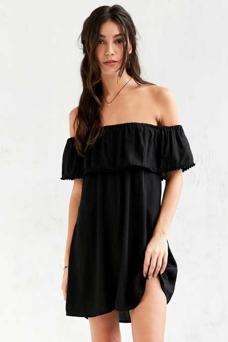 Motel Avon Ruffle Off-The-Shoulder Mini Dress