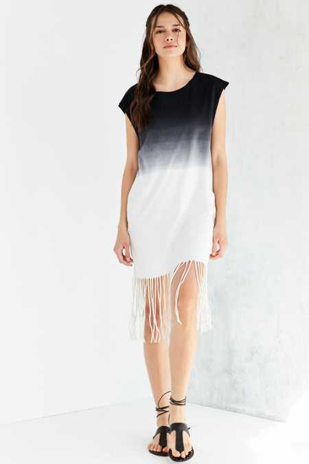 NYTT Maralee Dip-Dye Fringe Mini Dress