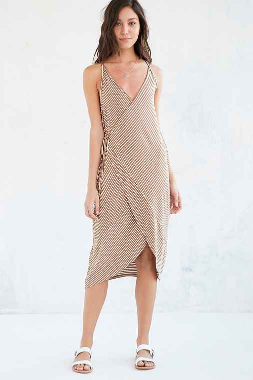 Ecote Striped Knit Wrap Midi Dress,NEUTRAL MULTI,M