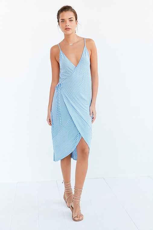 Ecote Striped Knit Wrap Midi Dress,BLUE MULTI,M