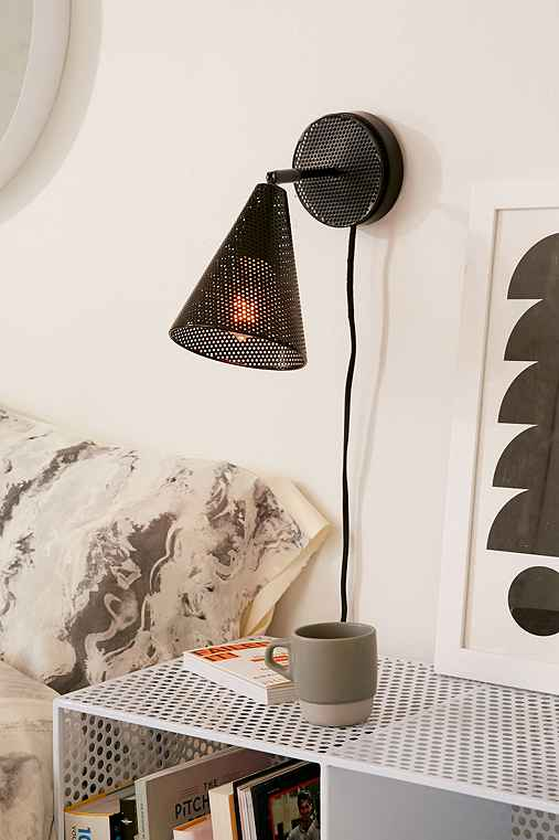 Perforated Cone Sconce,BLACK,ONE SIZE