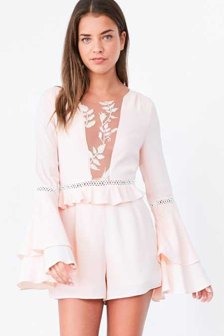 For Love & Lemons Emelia Bell-Sleeve Romper