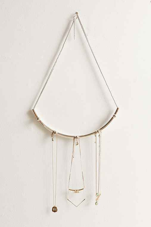 Curved Bar Hanging Jewelry Organizer,SILVER,ONE SIZE