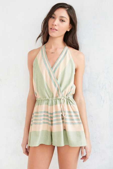 Ecote Fonda Striped Surplice Romper