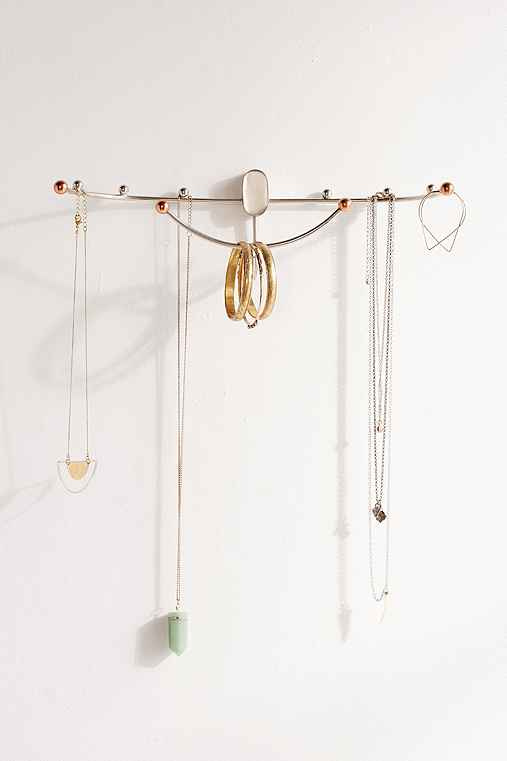 Beth Curved Hanging Jewelry Organizer,SILVER,ONE SIZE