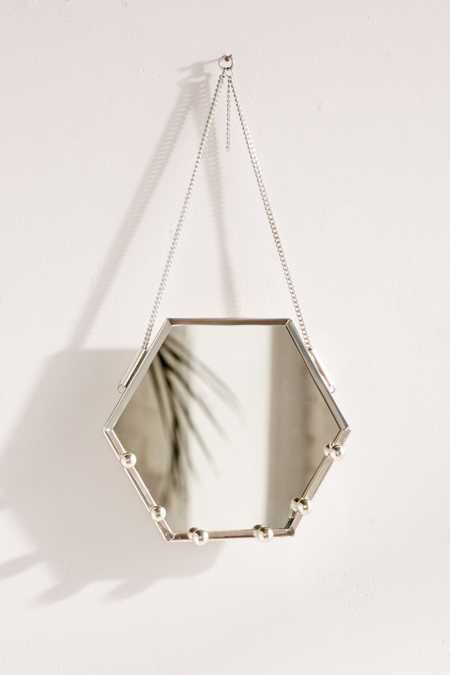 Hexagon Hanging Mirror Jewelry Organizer